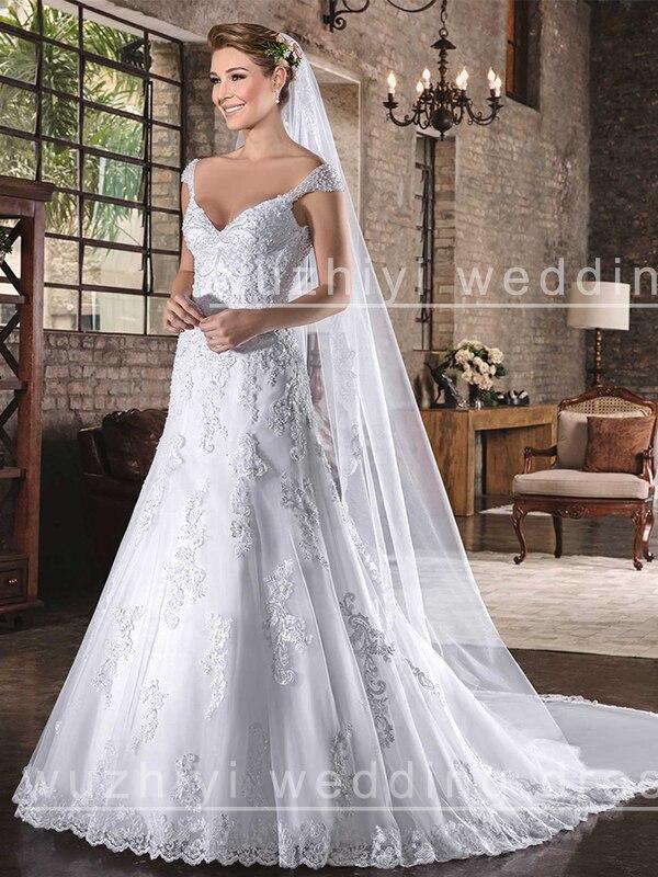 wuzhiyi 2019 A line wedding dress long wedding Grown sexy V neck beading sequins vestido de