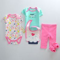 5 Pcs Set Baby Bodysuit Cute Cake PaYiFang 100 Cotton Toddler Jumpsuit Summer Baby Girls Boys