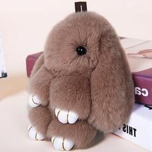 Rabbit Keychain Cute Fluffy Bunny Real Rex Fur Pompom Key Ring Pom Toy Doll Bag Charm Car Holder