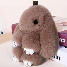 Rabbit Keychain Cute Fluffy Bunny Keychain Real Rex Rabbit Fur Pompom Key Ring Pom Pom Toy Doll Bag Charm Car Key Holder