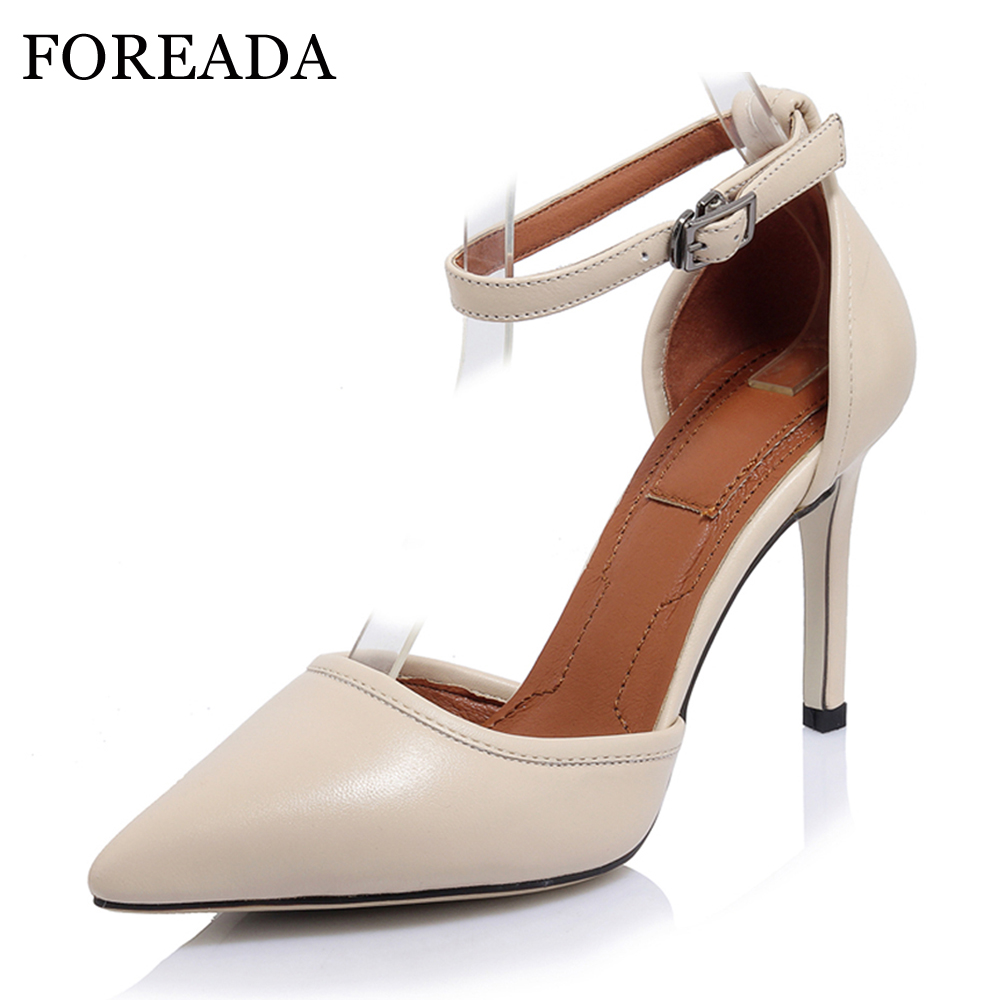 FOREADA Genuine Leather Shoes Women High Heels Ankle Strap High Heel Shoes Pointed Toe Party Pumps Two Piece Stiletto Size 34-40