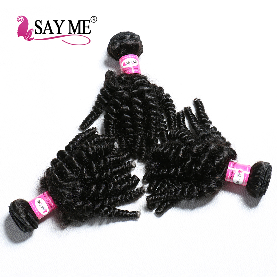 Say Me Afro Kinky Curly Hair 3 Bundles Human Hair Bundles Peruvian Hair Extension 8-20Inch Natural Color 1B Non Remy Hair Weave