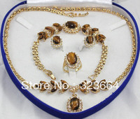 Tiger Eye Stone necklace bracelet earring ring set
