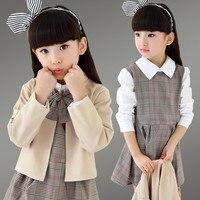 Girls Clothing Sets 2016 Autumn College Style Khaki Jacket Coat + Bow Plaid Long Sleeve Dress 2 Pcs Suits Kids Clothes