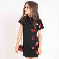 Dzieci Sukienki dla Dziewczynek Lato Dziewczyna Mody Sukni Bawełna Kolor Czarny Casual Dress for Nastolatki Dziewczyny 120 130 140 150 160 165