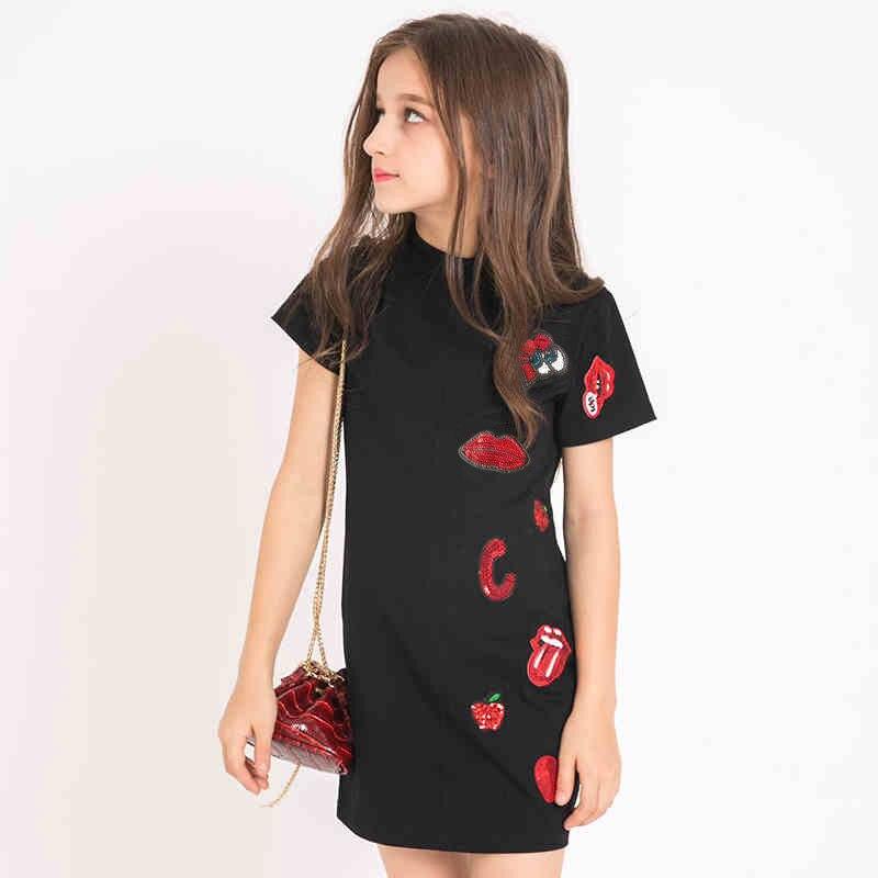 Kids Dresses for Girls Summer Girl Fashion Dress Cotton Black Color Casual Dress for Teens Girls 120 130 140 150 160 165