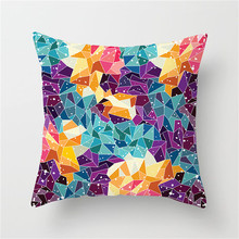 Fuwatacchi Colorful Irregular Geometric Cushion Cover Striped Patchwork Pillow Cover for Soft Car Chair Decorative Pillowcase цены
