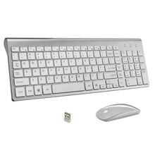 Clavier sans fil et souris de bureau, Ultra fin, 102 touches, clavier sans fil à faible bruit, pour Mac Pc, Win XP/7/10, Box Tv