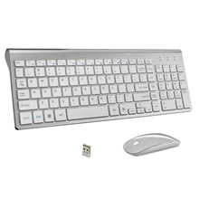 Ultra Thin Business Wireless Keyboard and Mouse Combo 102 Keys Low Noise Wireless Keyboard Mouse for Mac Pc Win XP/7/10 Tv Box