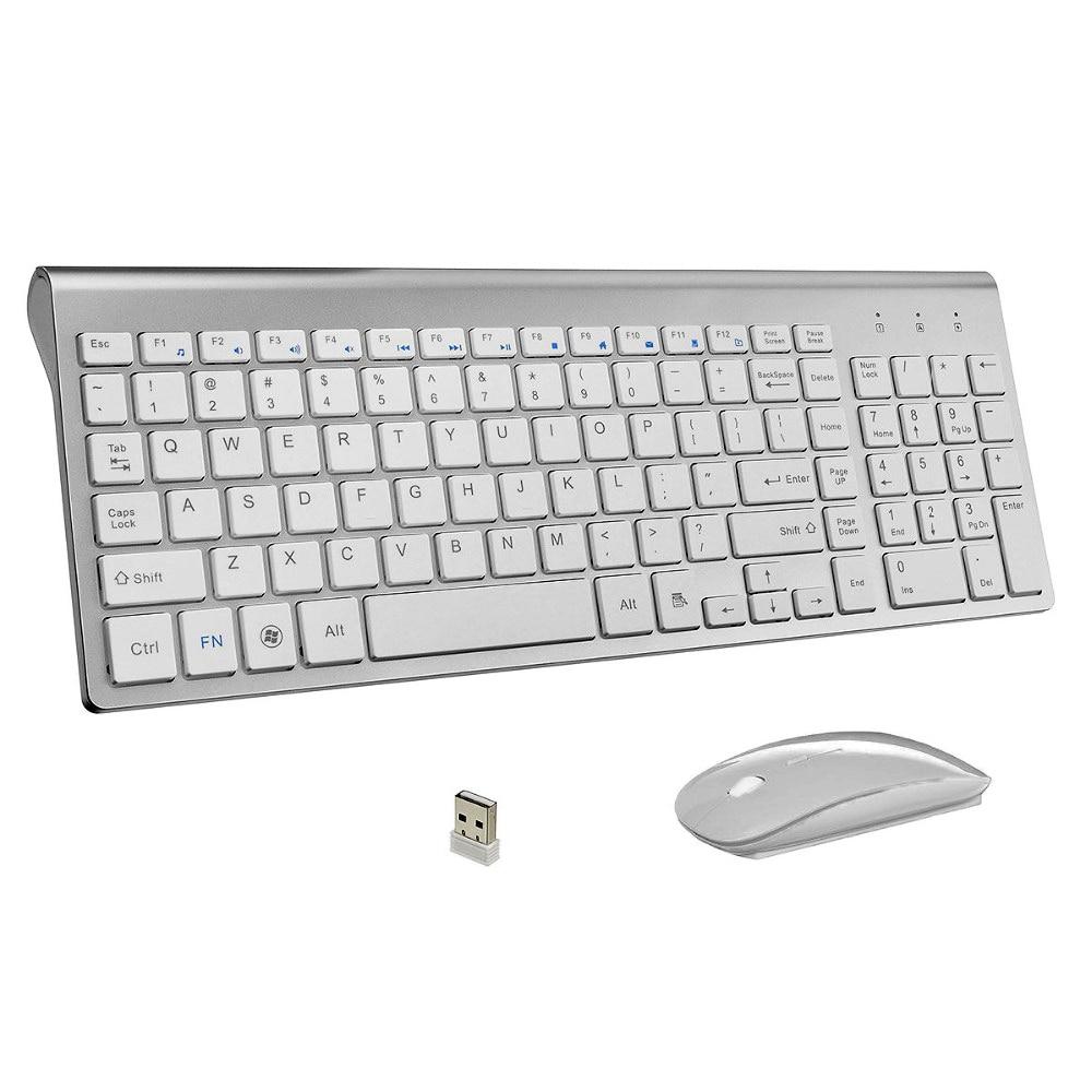 Ultra-fina, teclado inalámbrico y ratón Combo 102 llaves de bajo ruido inalámbrico ratón de teclado para Mac y Pc ganar XP/7/10 Tv Box