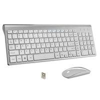 Ultra Thin Business Wireless Keyboard and Mouse Combo 102 Keys Low Noise Wireless Keyboard Mouse for Mac Pc Win XP/7/10 Tv Box