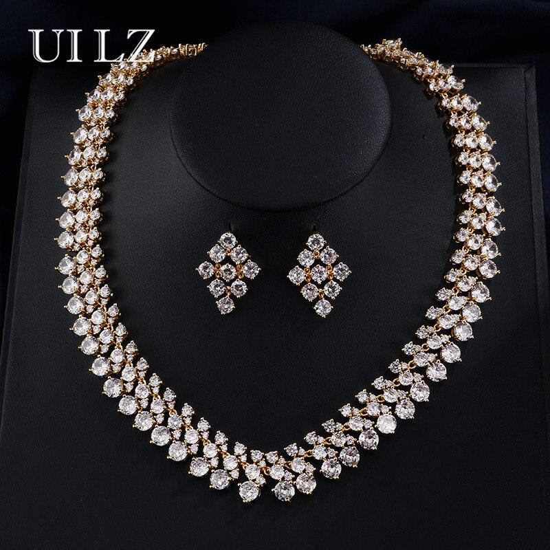 Uilz роскошные золотые изделие Одежда высшего качества круглый кластера Цирконий Свадебный комплект ювелирных изделий для Для женщин JMSP058