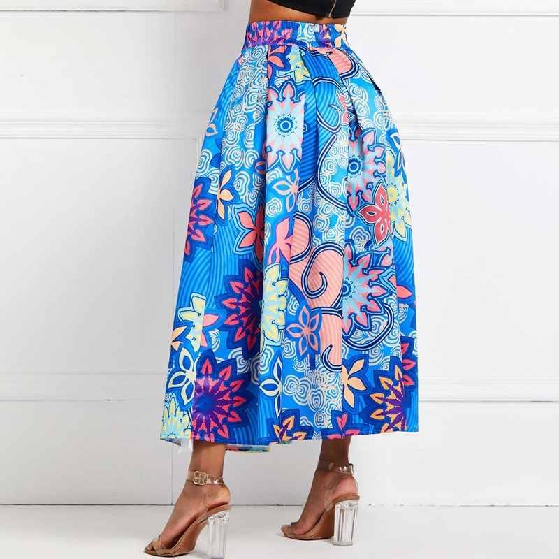 נשים פרחוני קפלים מקסי חצאית גבוהה מותן גדול Swing כחול אלגנטי קיץ אפריקאי אופנה הדפסת גבירותיי רחוב מזדמן ארוך חצאיות