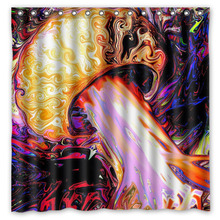 ФОТО crazy trippy printed bath shower curtains waterproof polyester fabric curtain for the bathroom with 12 hooks