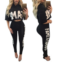 T Shirt Print Letter Tops Two Piece Long Pants Shirts Blusa Half Sleeve Pullovers For Women