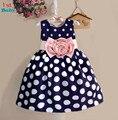 Розничная 2015 New Kids детские детские платья Девушки Платье Принцессы Горошек Богемия платье Бесплатная доставка Платье