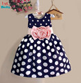 Retail 2015  New Kids baby Children's dresses Girls Princess Dress Polka Dots Bohemia Casual dress Free shipping Dress