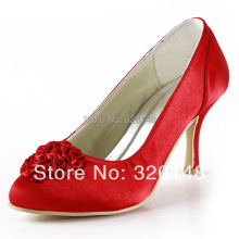 Elegant EP2004 Round Toe Flower Satin Red 3″ Spool Heels  Women Party Pumps Fashion Wedding Bridal Shoes