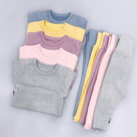 Kids Underwear Tracksuit Solid Gray Blue Yellow Color Cotton Long Sleeve Tops Pants Fleece Lining Warm
