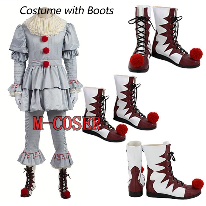 Us 1592 20 Offstephen Kings Het Pennywise Cosplay Kostuum Clown Kostuum Voor Mannen Halloween Kleding Met Laarzen Custom Made Volledige Set In