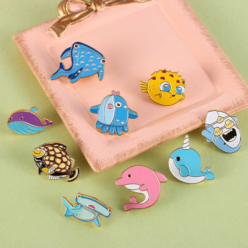 1 Pc Cute Pin Hiu Paus Narwhal Gurita Ikan Puffer Keras Enamel Pin Lapel Pin Bros Lencana Fashion Aksesoris