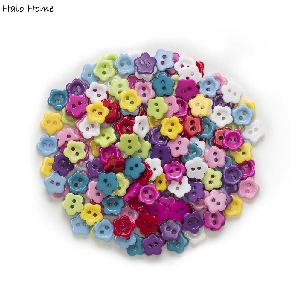 100pcs Flower Resin Buttons for Sewing Scrapbook Home Crafts Cloth Decor 6mm