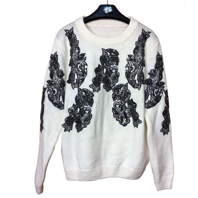Poncho 2018 Industria Cuentas Suéteres Invierno Knit blanco Capa Suéter Lentejuelas Inferior Real Femenino De Y Pesada Nuevo Negro Otoño Mujeres Suelta ztfw7qnzxr