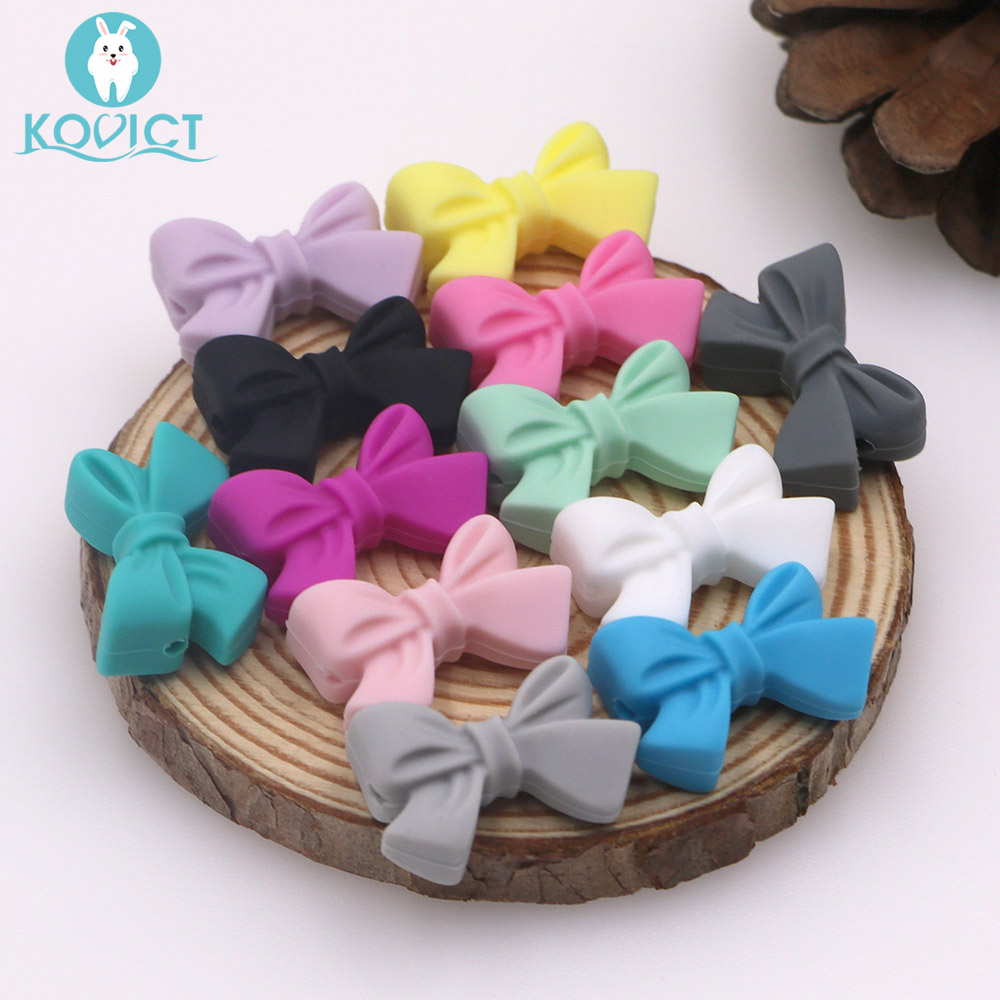 Kovict 27mm Silicone Butterfly Bow Knot Beads 5/12/20pcs Food Grade Silicone Teething Beads DIY Chewable Necklace Rodent