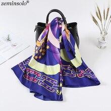 100% Twill Silk Scarf Women Luxury Brand Square Scarves Wraps Female Neckerchief Chain Silk Foulard Large Hijab Bandana Shawls luxury silk square 100