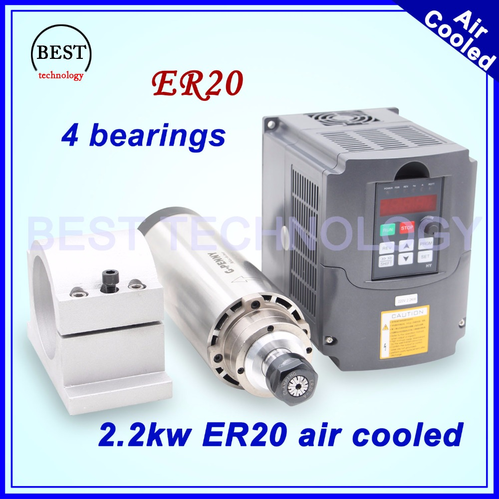 CNC milling spindle 2.2kw ER20 air cooled spindle 4 bearings 24000rpm air cooling & 2.2kw VFD inverter & 80mm spindle bracket new arrival 1 5kw er11 air cooled spindle 80mm diameter 4 pcs bearings 24000rpm air cooling cnc milling spindle accuracy 0 01mm