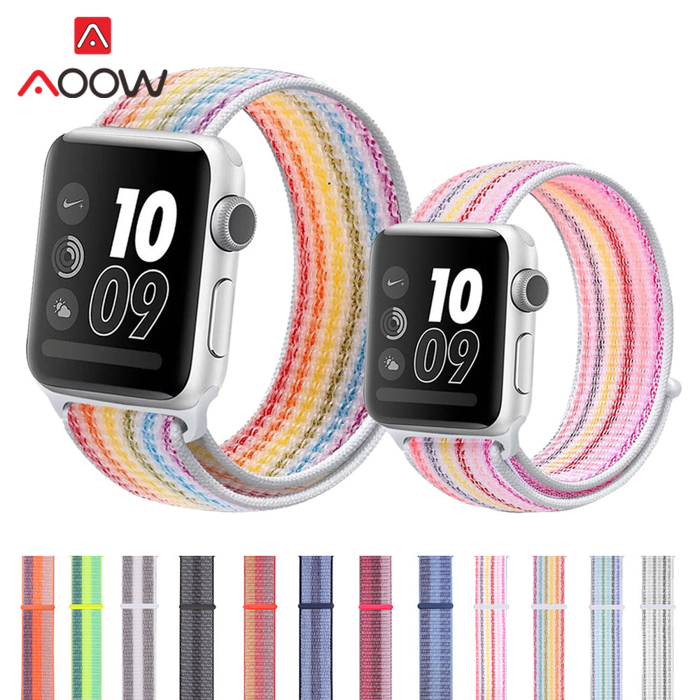 Nylon Loop Watchband for <font><b>Apple</b></font> <font><b>Watch</b></font> 40mm 44mm 38mm <font><b>42mm</b></font> rainbow <font><b>correa</b></font> Sport Bracelet Strap Band for iWatch Series 1 2 <font><b>3</b></font> 4 image