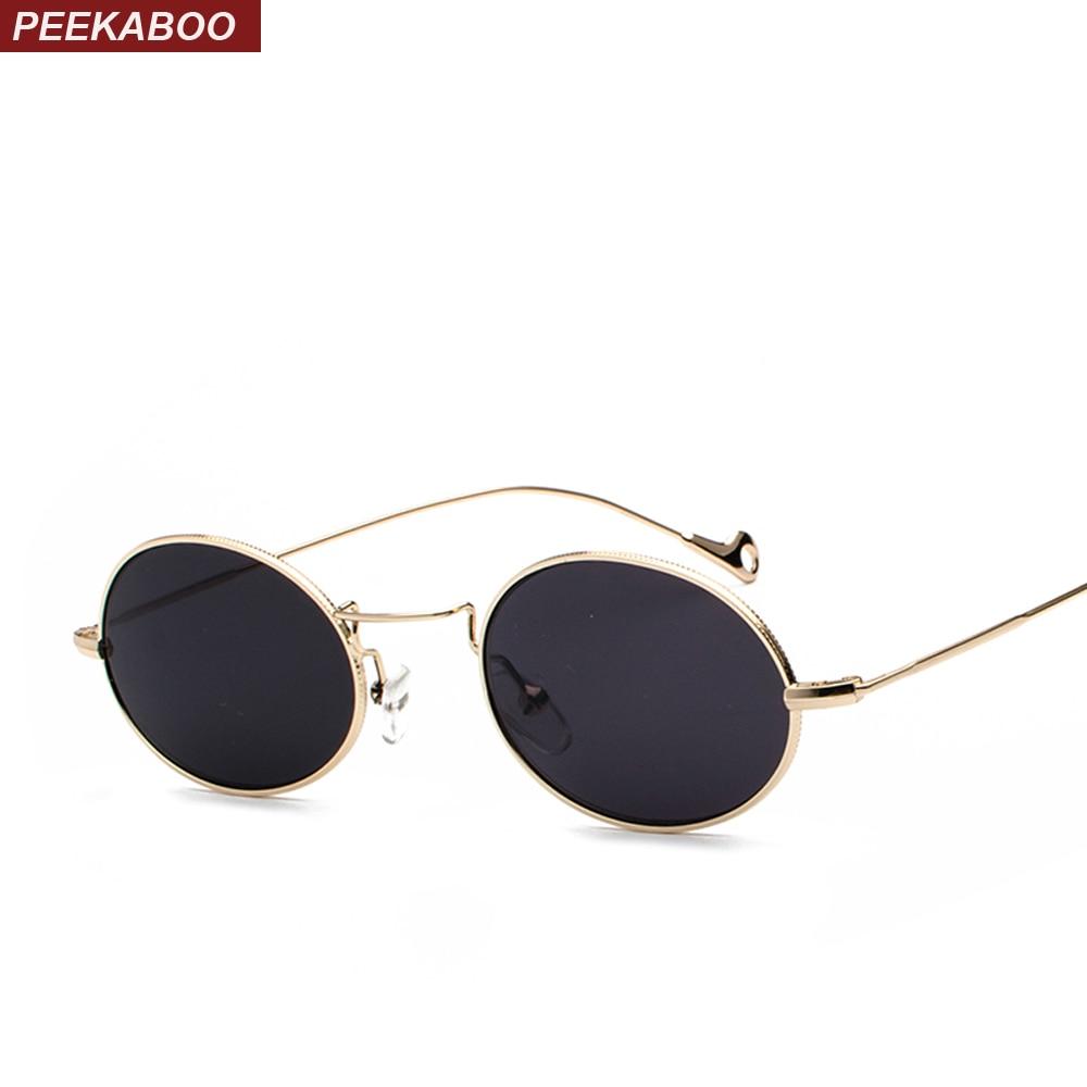 5286dd46aaa Peekaboo small oval sunglasses men retro metal frame black pink yellow blue  red sun glasses for women 2018 uv400