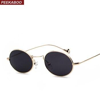 Peekaboo small oval sunglasses men retro metal frame black pink yellow blue red sun glasses for women 2018 uv400
