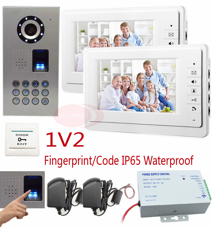 Home Phone Intercoms Fingerprint Camera Doorbell With Monitor 7 Color Tft Lcd For 2 Apartments Video Doorphones IP65 Waterproof 7 inch video doorbell tft lcd hd screen wired video doorphone for villa one monitor with one metal outdoor unit night vision