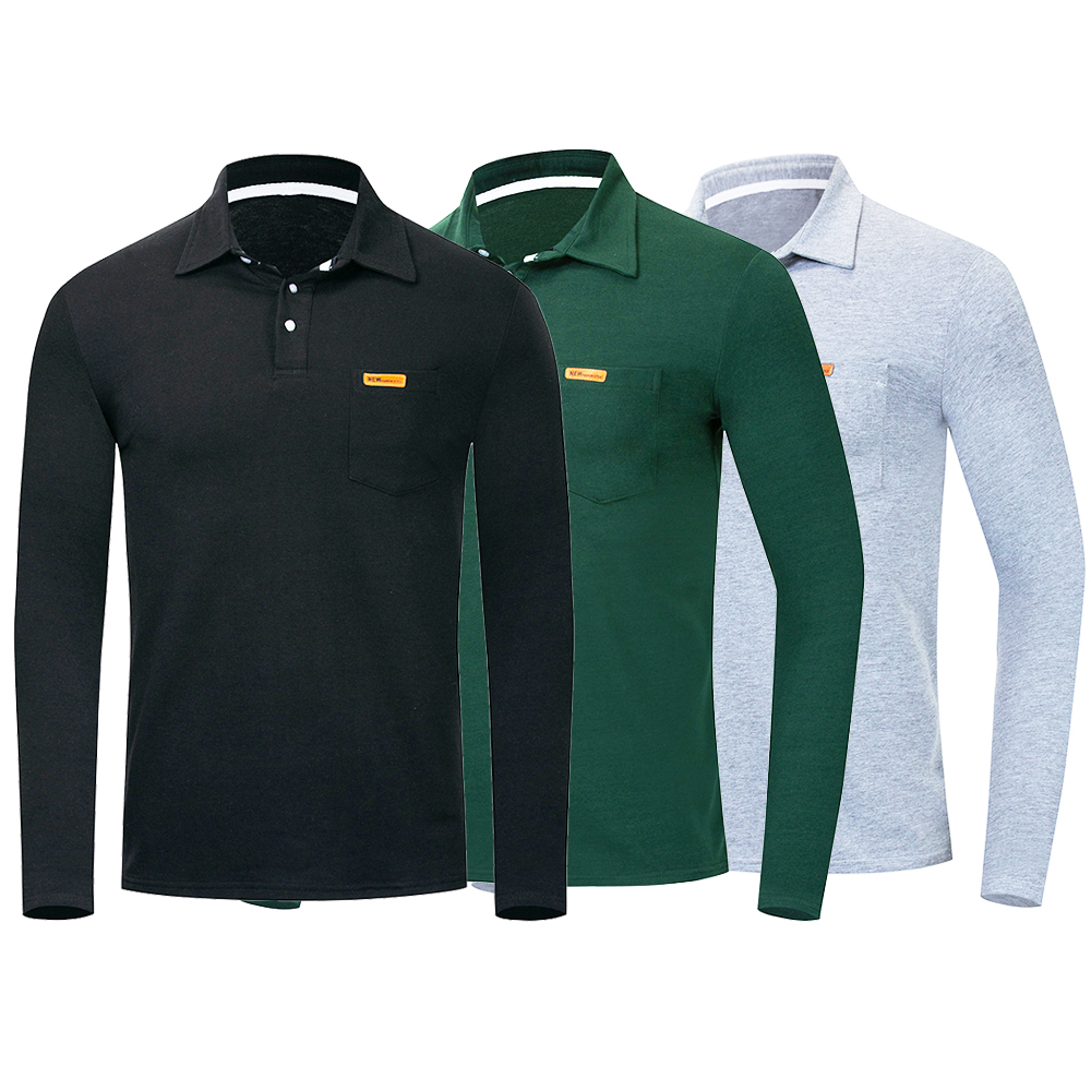 Smart Casual   Polo   Shirt Solid Color Long Sleeve Turn-Down Collar   Polo   Shirt With Breasted Pocket Business Sport Casual Top Shirt