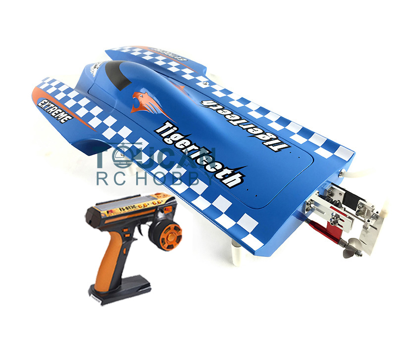 E22 RTR Tiger Teeth Fiber Glass Racing Speed Boat W/2550KV Brushless Motor/ 90A ESC/Remote Control Catamaran RC Boat Blue e36 rtr sword fiber glass racing speed rc boat w 1750kv brushless motor 120a esc servo remote control boat green