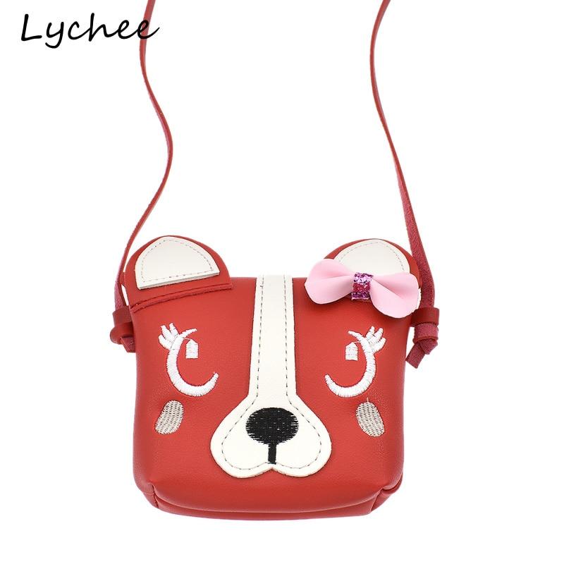 Focal20 Лидер продаж Симпатичные Животные собака голова розовым бантом для детей сумка искусственная кожа PU Девушки Кроссбоди Мешок