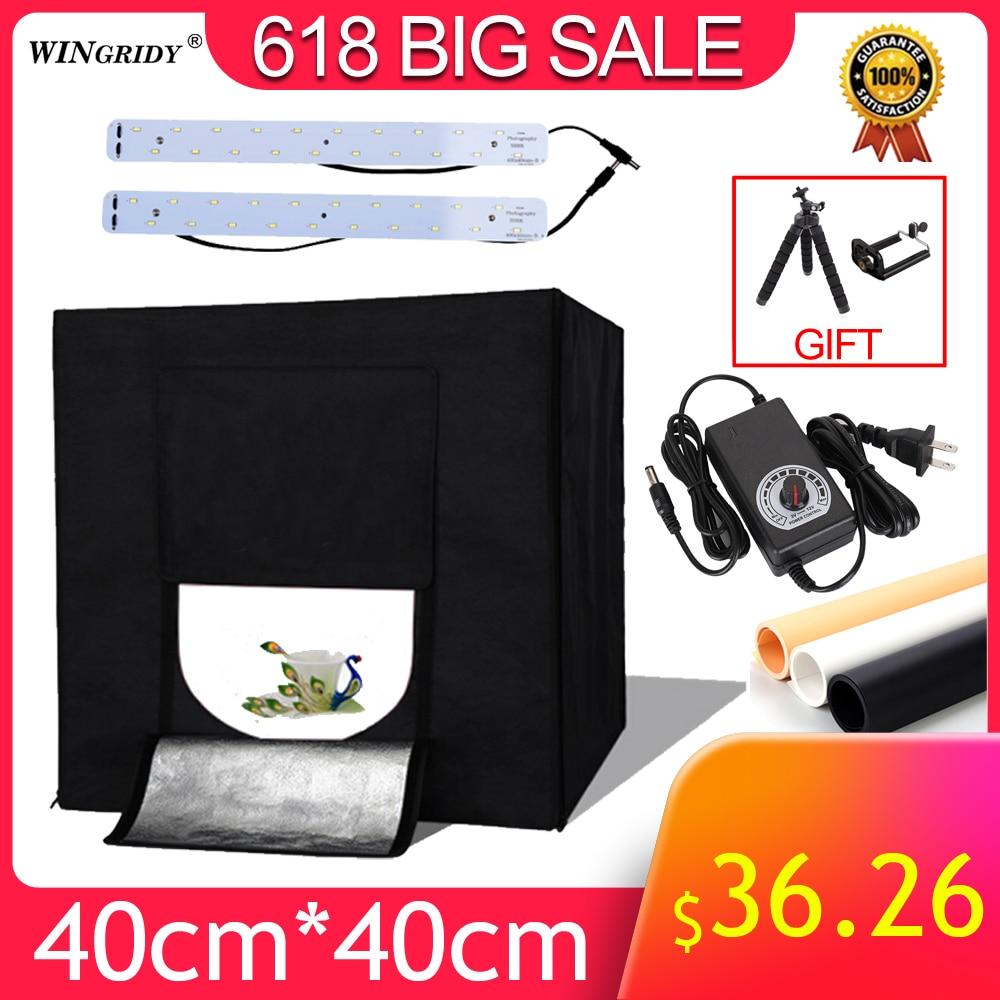 WINGRIDY W40 LED pliant Photo Studio Softbox Lightbox 40*40 lumière tente avec blanc jaune noir fond accessoires boîte lumière