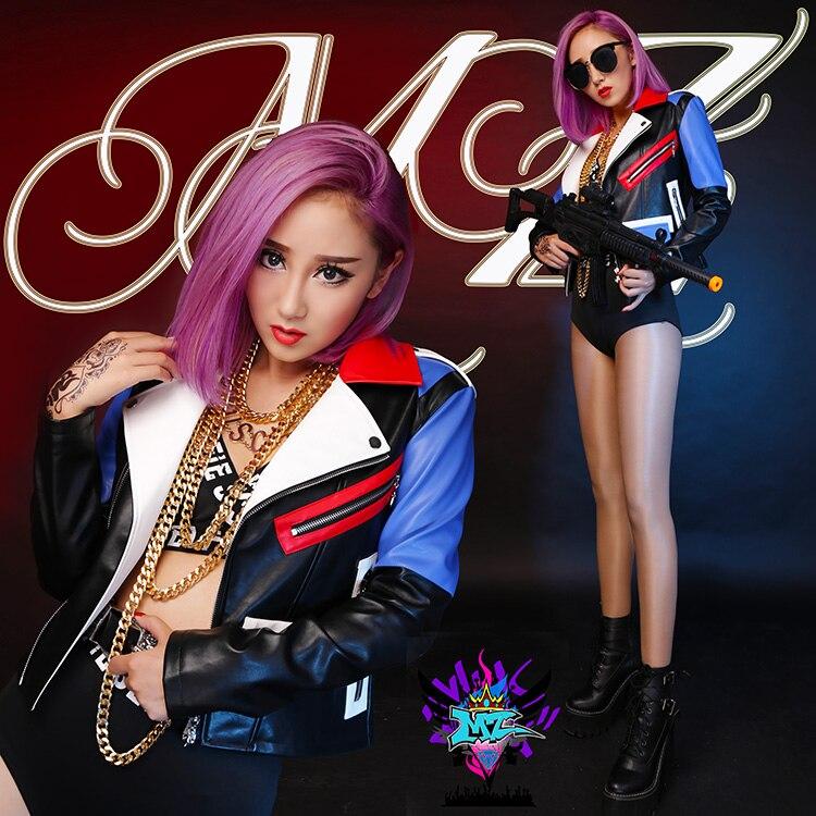 2019 new women's slim Singer jacket DJ color stitching   leather   jacket performance coat plus size Female singer costumes clothing