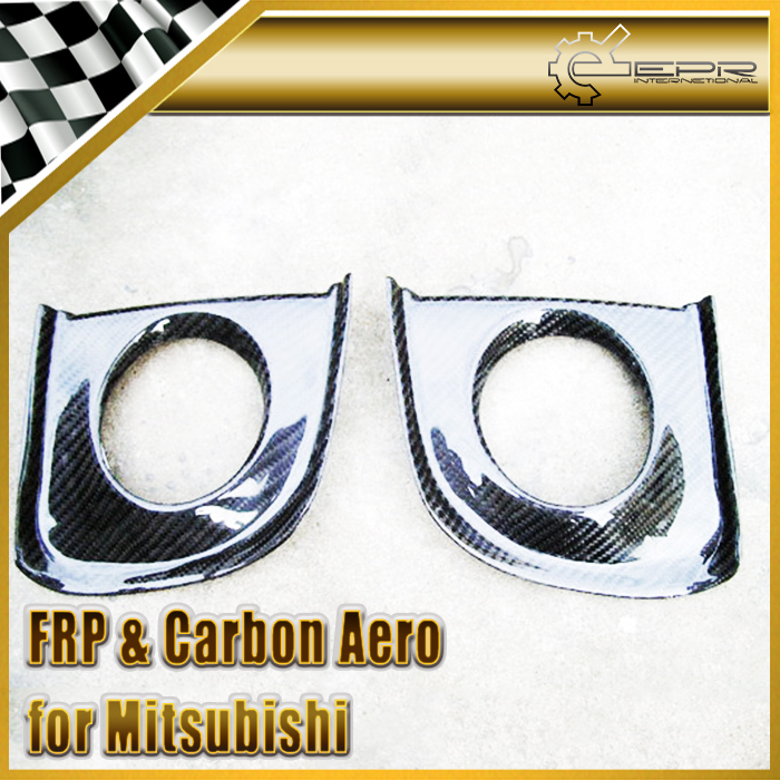 EPR Car Styling For Mitsubishi Evolution EVO 10 X Carbon Fiber Front Bumper Fog Light Cover Car Accessories universal auto car bumper moulding decorative fins canards front splitter sticker carbon fiber car styling for all cars 4pcs set