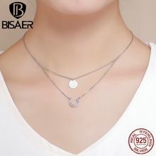 f71e2540bcbb BISAER 925 redondo de plata de ley y suerte herradura doble capas collar  enlace collar moda mujer elegante regalo de joyería fin.