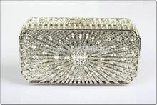 8253S SILVER crystal Treasure box Lady fashion Wedding Bridal hollow Metal Evening purse clutch bag handbag