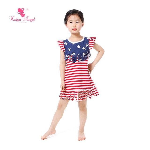 Zomer Kinderkleding.Kaiya Angel Juli Meisjes Jurk Kwastje Ons Patriottische Meisjes