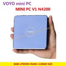 VOYO Mini PC V1 N4200 (4 ГБ/8 ГБ DDR3L оперативной памяти + 128 ГБ SSD) Windows 10 карман ПК Intel озеро Аполлон процессора 4 К выход HD 3 x USB3.0