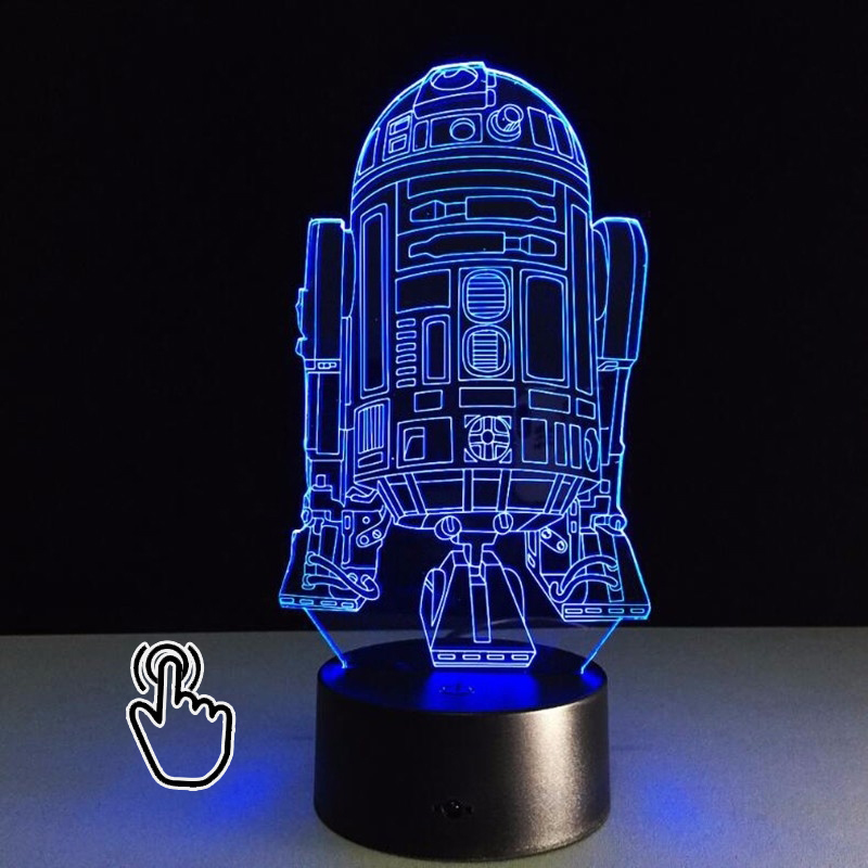 3D LED Hologram Illusion Gift Star Wars R2-D2 Robot 7 Color USB Touch Night Light