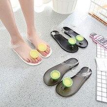 HEE GRAND/сандалии; женские прозрачные сандалии с лимонами; Милые шлепанцы с сандвич-носком для девочек; сезон лето; пляжная обувь на плоской подошве; утолщенная Повседневная обувь; XWZ6024