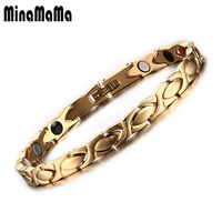 Fashion Jewelry Gold Plated Healing Energy Negative Ion Infrared Titanium Steel Germanium Magnetic Bracelet For Women