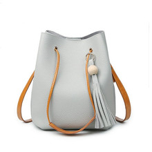 Bolso de la borla de Las Mujeres Famoso Diseñador de la Marca Bolso de Las Señoras Bolso de Las Mujeres Bucket Bag de Alta Calidad de Corea Bolsas de Mensajero Bolsas