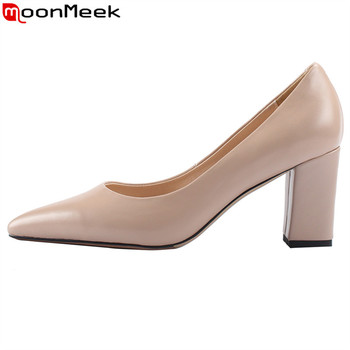 MoonMeek 2019 fashion spring new pumps women shoes pointed toe shallow genuine leather shoes high heels prom wedding shoes