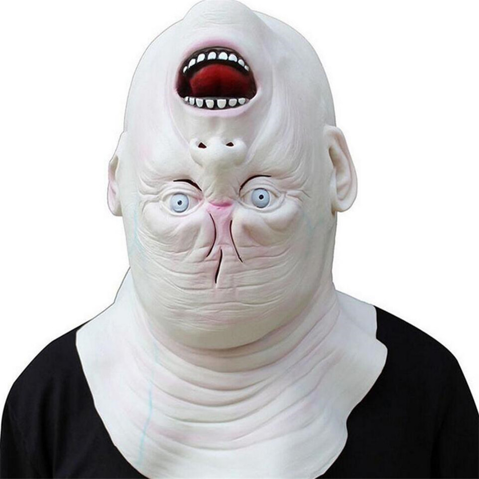 Horrible Halloween Cosplay Costume Latex Adult Terror Full Head Face Reverse The Head Fancy Ball Helmet Props Scary Masks A2256c